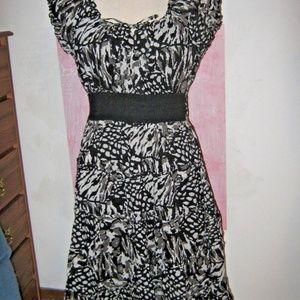 Black Gray White Gypsy Boho Hippie Peasant Dress L